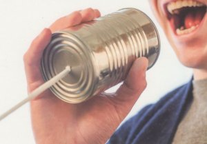 Tin Can String Telephone Toy Childrens Communications German Postcard