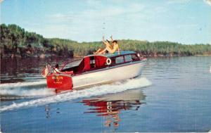 MISSISSIPPI RIVER-MOTORBOATING-WOOD CABIN CRUISER POSTCARD 1968