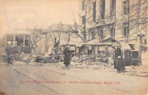 Dayton Ohio Flood Wreckage Scene Antique Postcard K78977