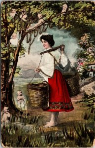 RARE BABIES IN TREES AND WATER - LADY HOLDING BASKETS - WIERDO VINTAGE POSTCARD