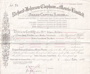 Manchester Builder Merchants Ironmongers 1935 Stock Exchange Share Certificate