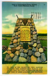 Valley City, North Dakota to Simpson, Kansas 1948 used PC, Cairn at Peace Garden