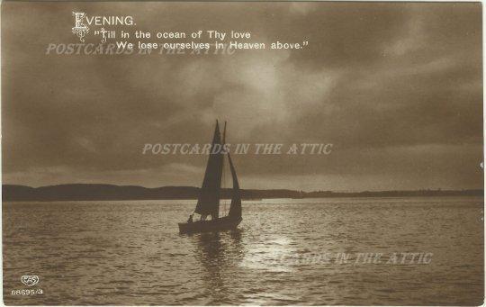 Ocean - Sail Boat - Twilight - Ephemera - Travel Souvenir - Night Scene Vintage