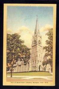 Davenport, Iowa/IA Postcard, View Of Sacred Heart Cathedral