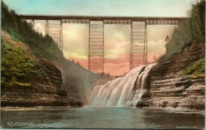 Vtg Postcard Gennesee Gorge Series No 23 Eerie Railroad Bridge A H Jenks UNP