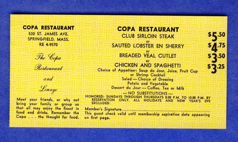 Vintage 1968 Copa Restaurant Coupon, Springfield, Mass/MA
