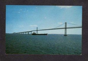 MD Chesapeake Bay Bridge Maryland Postcard Tanker ship