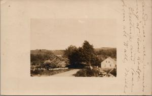 Concord NH~Mill's Farm House Hidden on Left~Mr Clough's Home on Right 1910 RPPC
