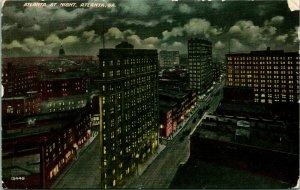 Vtg Postcard c 1908 Atlanta At Night - Bird's Eye View Atlanta GA Unused