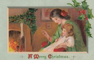 AS; Frances Brundage, 1900-10s; CHRISTMAS, Mother and daughter, Fireplace, Holly