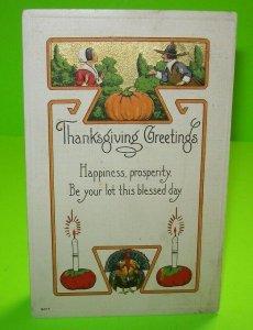 Thanksgiving Postcard Vintage Embossed Series 9077 Bergman Unused 1913 Creased