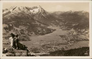 Wankhaus Blick auf Garmisch Partenkirchen real photo