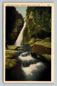 White Mountains NH-New Hampshire Glen Ellis Falls, Notch, Vintage c1941 Postcard