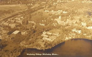 C.1920s Rare! Wellesley College Mass Aerial View RPPC Real Photo Postcard A10