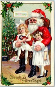 Vintage Christmas Postcard SANTA CLAUS w/ Little Girl on Lap STECHER 227F Unused