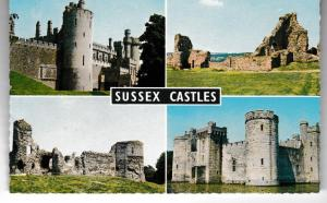 Post Card Sussex SUSSEX CASTLES 4 views Wardell's Natural Colour