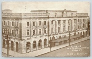 Utica New York~New Central Station Exterior~Large Clock~1914 Postcard