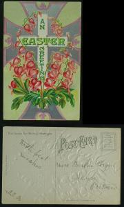 An Easter Greeting cross w bleeding heart flowers c 1910