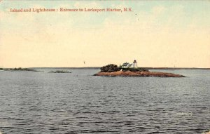 Lockeport Harbor N.S. Canada view of Island and Lighthouse antique pc ZD549902