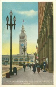 Lower Market St, San Francisco CA Coke Sign, Mailbox, People Vintage Postcard
