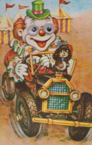 Clown With Moving Eyes Driving Fair Lorry Squeaking Comic Humour Circus Postcard