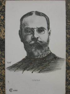 Composer John Philip Sousa Patriotic Marches A/S Glitter Postcard c1910 myn