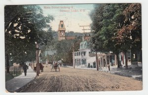 P2086, 1908 postcard horse & wagons dirt road main st saranac lake ny