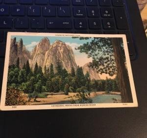 Vintage Postcard: Yosemite National Park, Cathedral Rocks from Merced River