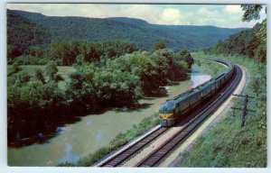 HORNELL, NY ~ ERIE LIMITED Railroad Train Along Canisteo River c1950s Postcard