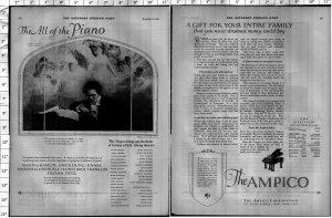 1924 Ampico Piano Large Vintage Print Ad 4014