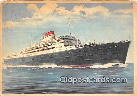 Ship Postcard Post Card Italian Line, New York, USA MV Vulcania Ship Postcard...