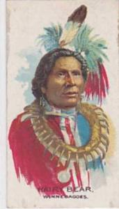 B A T Vintage Cigarette Card Indian Chiefs No 46 Hairy Bear Winnebagoes Tribe...