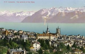 Switzerland - Lausanne. General View with Alps