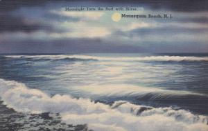 MANASQUAN BEACH, New Jersey, 1930-1940's; Moonlight Tints The Surf With Silver