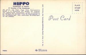 Food Hippo Hamburgers Fast Food? Menlo Park San Francisco CA Postcard