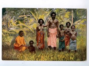 247244 FIJI Semi-nudes Fijian family Vintage TUCK postcard