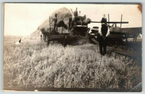 Real Photo Postcard~Farmers Threshing & Pitching Hay~Horse Wagon~Derby Hat~c1912