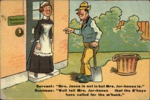 Servant & Workers Tradesmen Entrance Social Class Humor c1910 Postcard