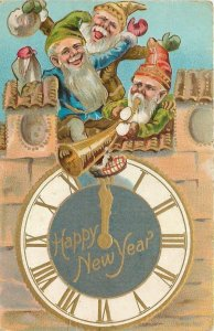 Fantasy New Year~Midnight Clock~Tower~Gnomes Celebrate~Horn~Drop Gold Coins~Emb