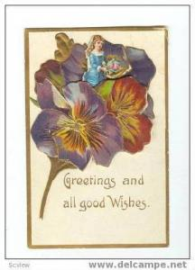 3D PC: Girl in Bouquet of Pansies, Greetings 1900-10s