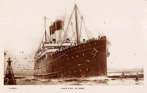 LNER RMS St Denis Ship Entering Harbor Real Photo Postcard JB627634