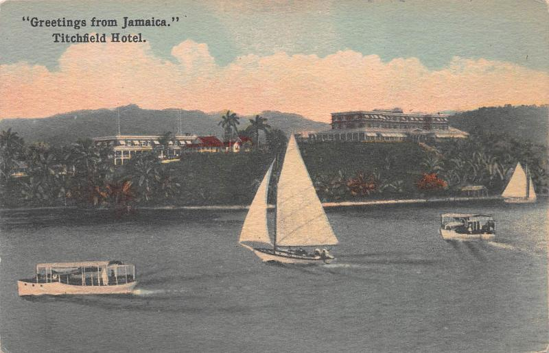 Greetings from Titchfield Hotel, Jamaica, Early Postcard, Unused