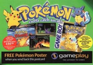 Pokemon Gotta Catch Them All Gameplay Advertising Postcard