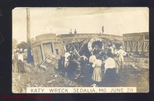 RPPC SEDALIA MISSOURI MK&T KATY RAILROAD TRAIN WRECK REAL PHOTO POSTCARD 1920