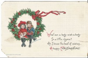 Children Dressed in Winter Clothing Sitting on Wreath by Artist Francis Brundage