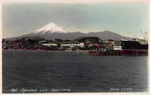 Mt. Egmont and Harbor, New Zealand, Early Real Photo, Postcard, Unused