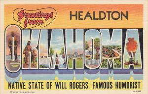 Oklahom Greetings From Healdton Large Letter Lionen Curteich
