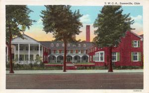 Zanesville Ohio~YWCA~Large Front Porch~1940s Linen Postcard