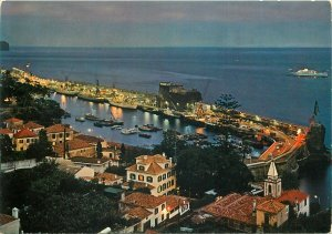 Portugal Postcard Madeira Funchal night view of the harbor