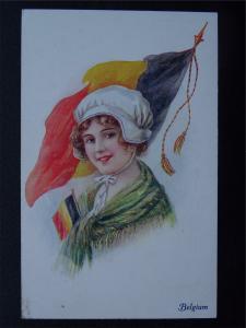 WW1 Female National Costume & Flag BELGIUM c1916 Postcard Vivian Mansell 1021